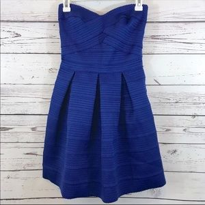 EUC Express blue strapless pleated mini dress S